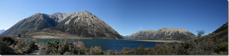 Panorama looking across lake near Arthurs Pass
