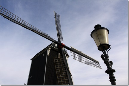 Windmill and a town light