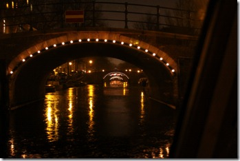 Lights on lots of canal bridges