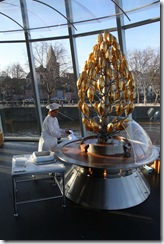 Worker at the chocolate fountain