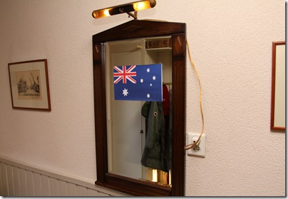Aussie flag on the mirror in the downstairs hallway.