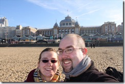 Us on the beach with the Kurhaus behind us